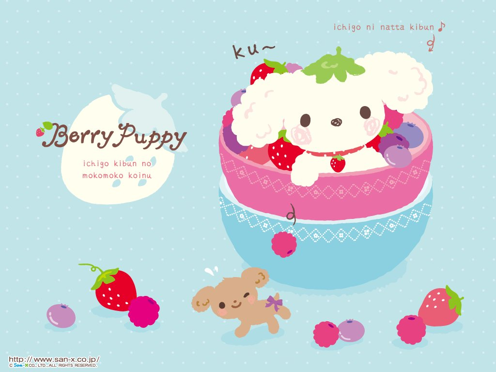 berry puppy, blue, cute, dog, kawaii