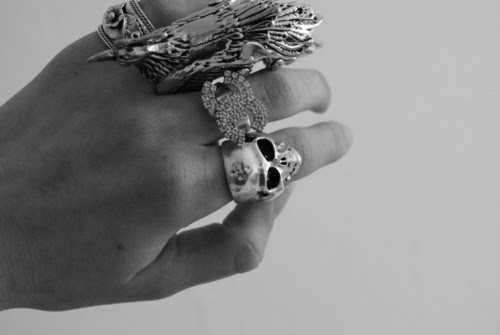 black and white, chanel, coco chanel, ring, skull