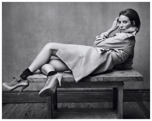 black and white, christy turlington, coat, december 2010, elle, elle france, heels, mark seliger, trench, trench coat, First Set on Favim.com