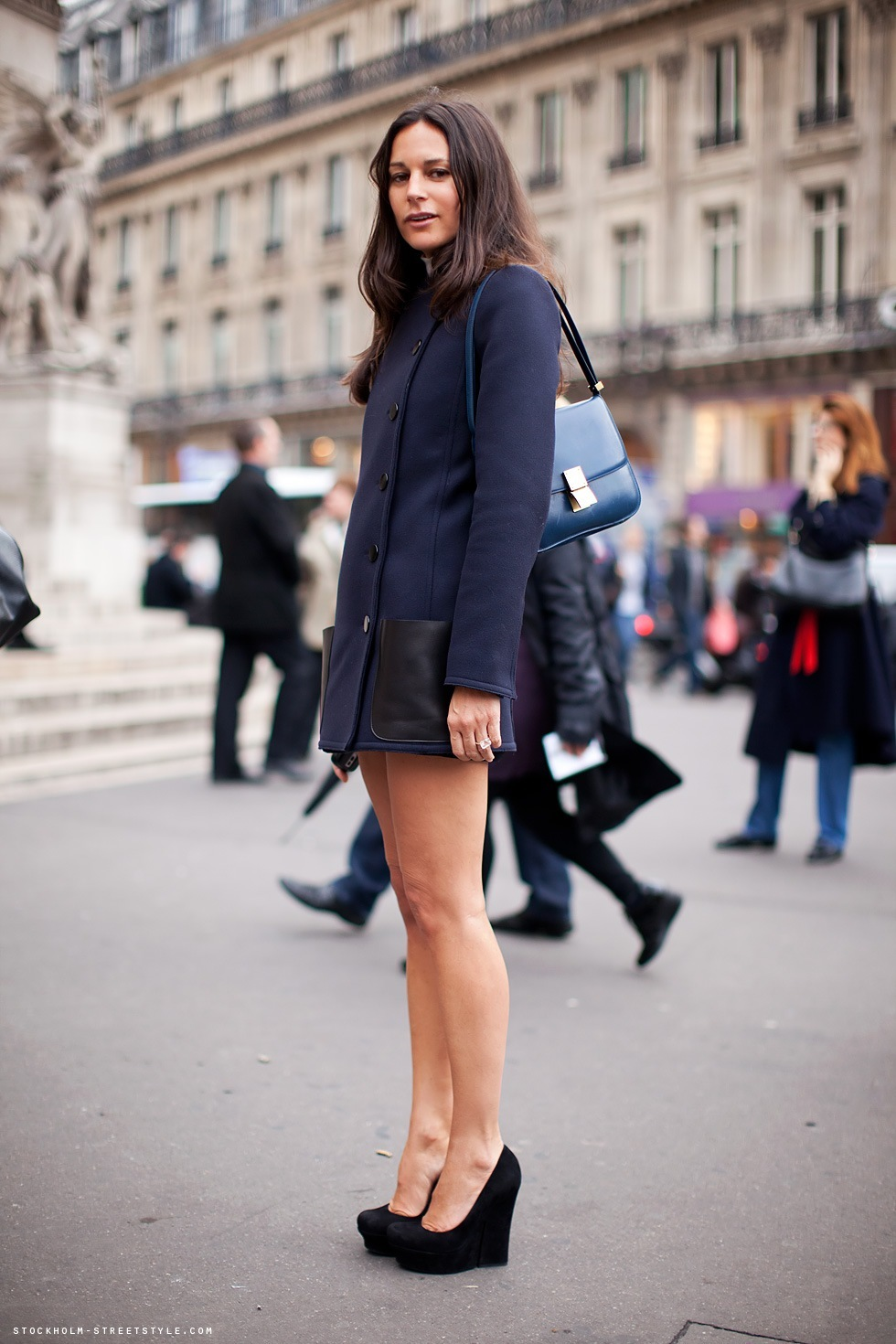 blue, brunette, coat, cute, fashion