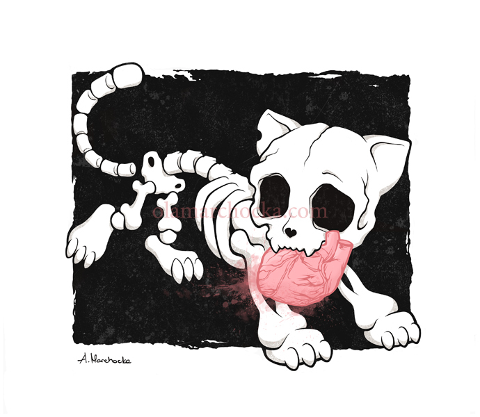 bones, cat, cute, datk, deviant art