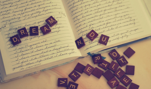 books, dream, letters, scrabble