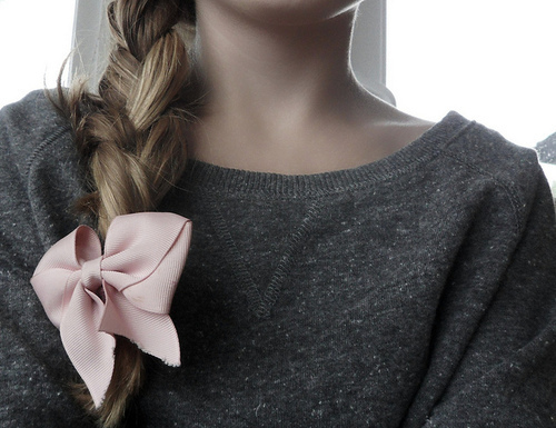 bow, braid, cute, grey