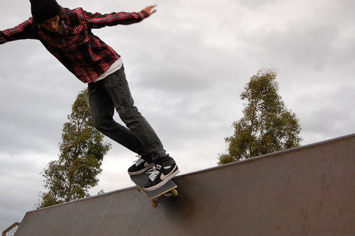 boy, button up, nikes, photography, plaid, ramp, red, skate board, skateboard, skateboarding, skinny jeans, trees