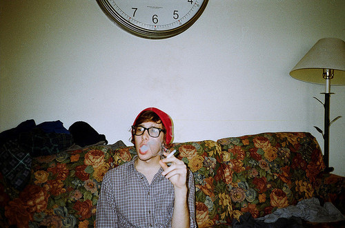 boy, cigarette, flowers, glasses, smoke, vintage
