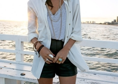 bracelets, chains, cross, crosses, fashion, girl, leather, necklaces, ocean, rings, shorts, style, top, water