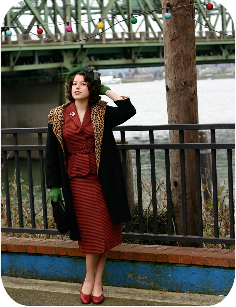 bridge, coat, fashion, girl, gloves