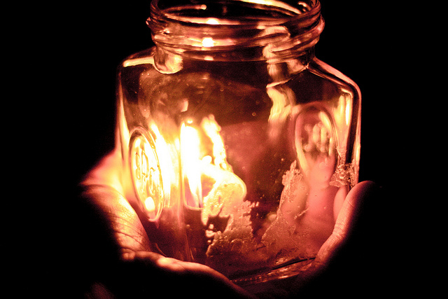 candle, dark, fire, glass, hand