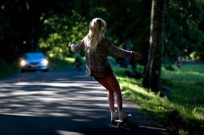 car, girl, longboard