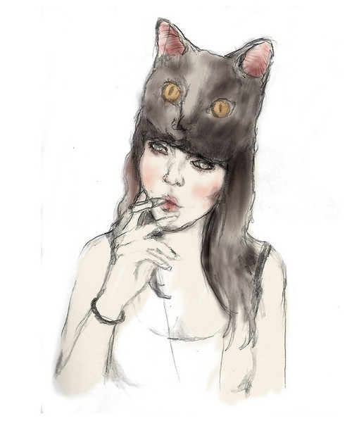cat, ciggaret, girl, hat, illustration