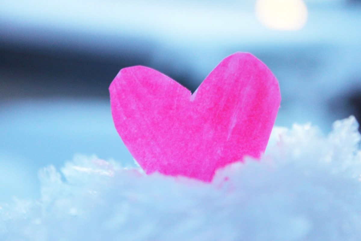 christmas, cold, heart, pink, snow