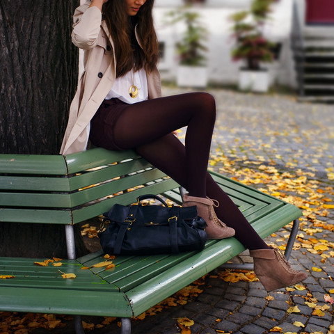cute, fashion, park bench