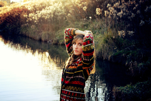 fashion, girl, greenery, jersey, jumper, knitted jersey, knitted sweater, knitwear, lake, landscape, model, nature, patterned, photography, pretty, reflection, retro, retro pattern, style, sun, sunset, sweater, vintage, water