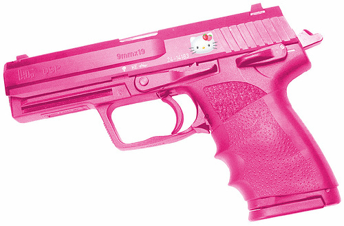 gun, hello kitty, pink