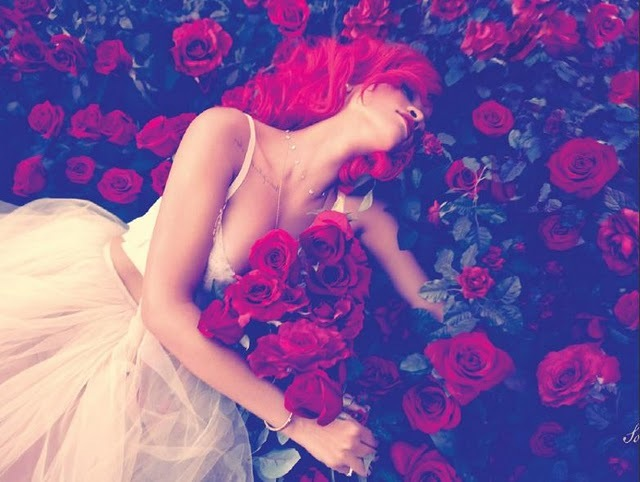 loud, red, red flower, red hair, red lipstick