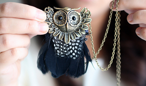 accessory, cute, girl, necklace, owl