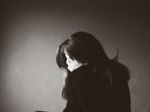 alone, b&w, black, black and white, brunette