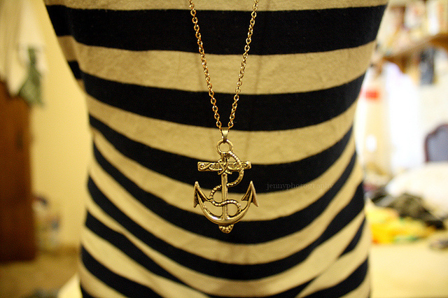anchor, navy, necklace, stripes
