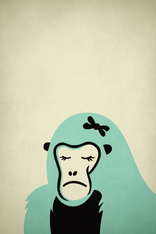 animal, ape, beautiful, blue, cute, girl, illustration, monkey, white