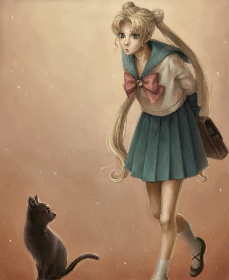 anime, illustration, murmur sketch, sailor moon, serena