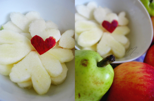 apple, cute, food, fruit, heart, love, natural, pear