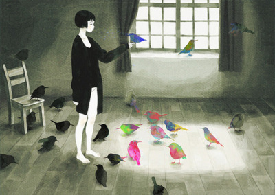art, birds, girl, happy, painting, sad