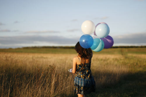 artsy, balloons, dress, field, girl