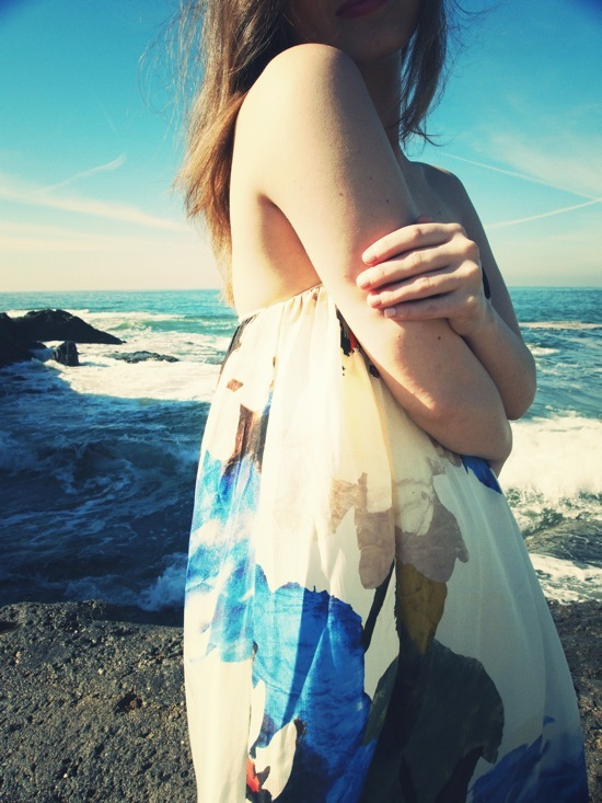 beach, blue, california, dress, girl, ocean, white