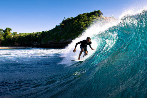 beach, guy, ocean, surf, surfing