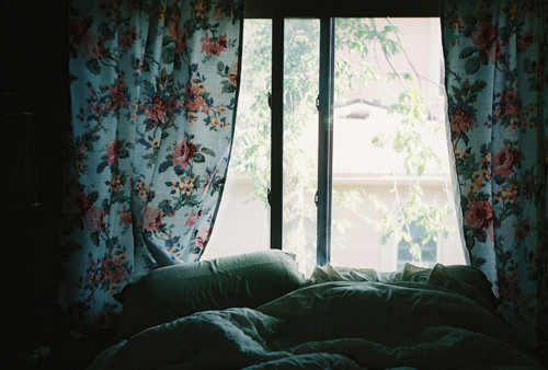 bed, bedroom, curtains, flowers, light