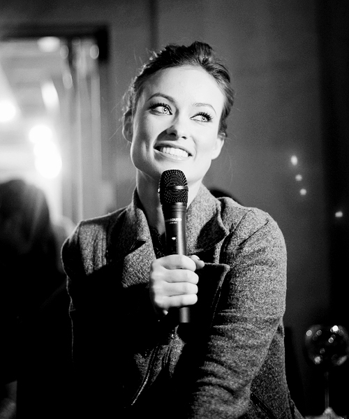 black & white, mic, microphone, olivia wilde, smile