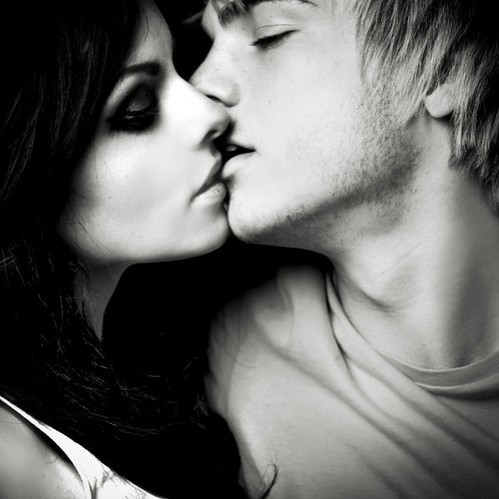 black and white, couple, kiss, love, sexy
