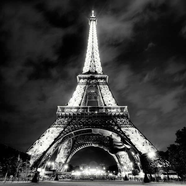 black, black and white, eifeltower, exposure, lights, night, paris, photography, white