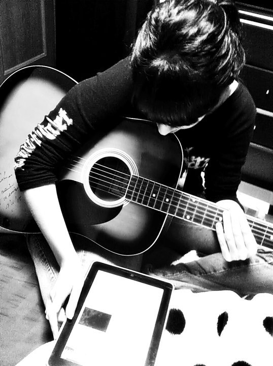 black, black and white, feelings, girl, guitar, ipad