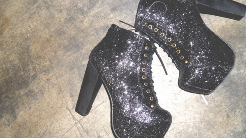 black, black heels, fashion laces, galaxy, glitter
