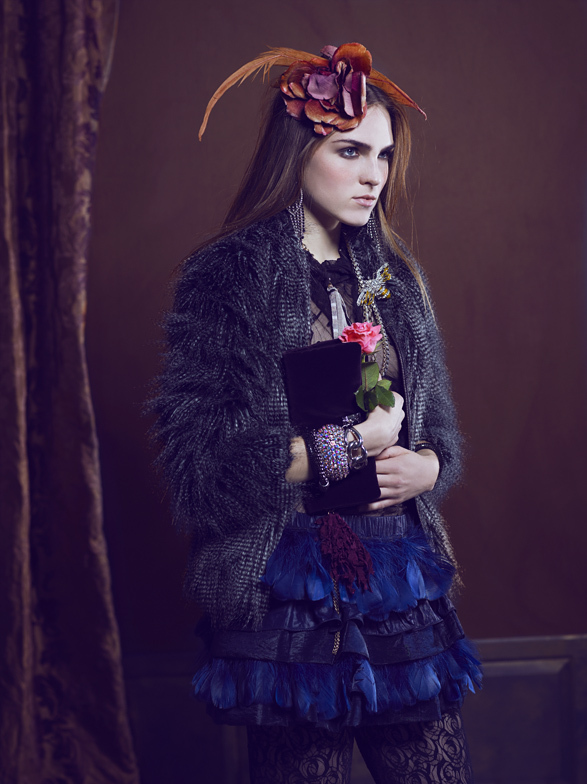 black, coat, curtains, editorial, fashion, feathers, flowers, fur, girl, girly, gold, hair, hand bag, headband, lace, model, photography, purple, sequins, skirt, stockings, velvet