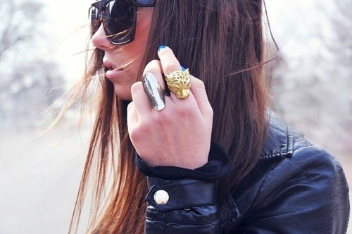 black, girl, gold, hair, leather, leather jacket, pretty, rings, silver, sunglasses, tiger