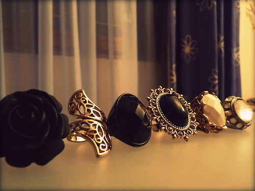 black, gold, jewellery, rings, white