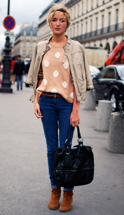 blonde, bubbles, fashion, fashion week, paris, photography, polka dots, street style, sweater