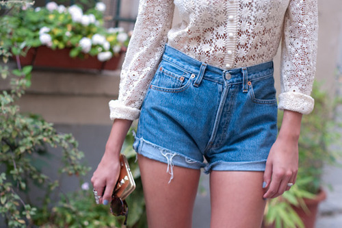 blouse, daisy dukes, denim, fashion, flowers, girl, high waisted, hot pants, legs, madamelulu, shorts