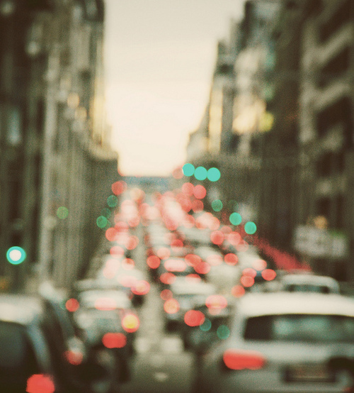 bokeh, buildings, city, lights, new york, nyc, street, traffic