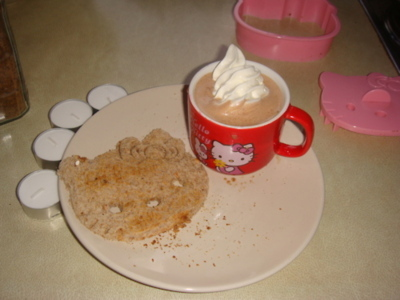 breakfast, candle, cup, cute, hello, hello kitty, kitty, mug, pink, red, tea, toast