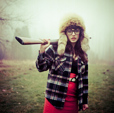 brunette, fur, girl, glasses, gun