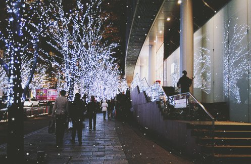 busy, christmas, city, fairy lights, lights, people, photography