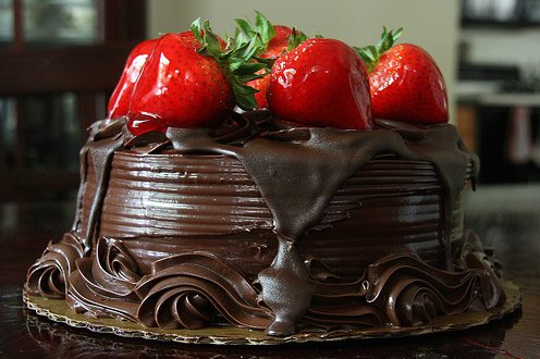 cake, chocolate, food, strawberries