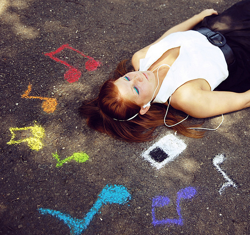 chalk, colorful, girl, music