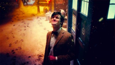 christmas, doctor who, eleven, english, matt smith, photography, snow, tardis