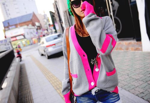 city, fashion, girl, pink, pretty, street, sweater