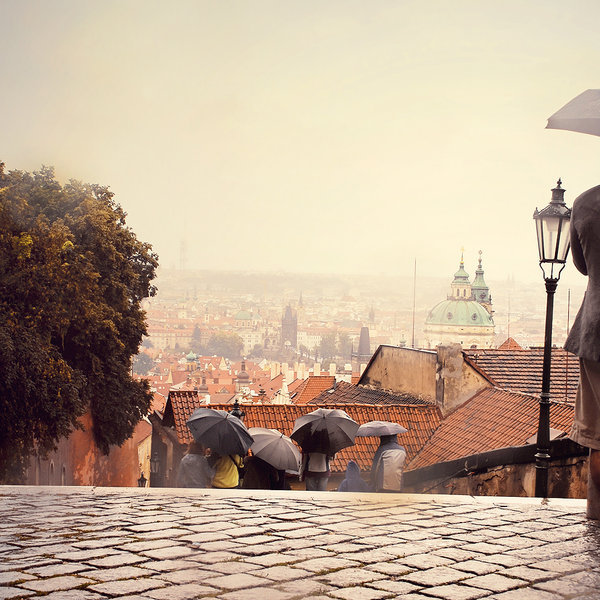 city, prague, rain, red, street