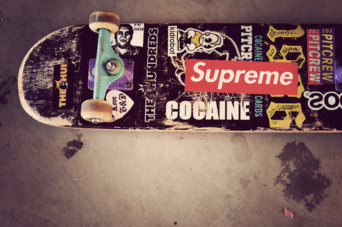 cocaine, kid robot, shape, skate, supreme